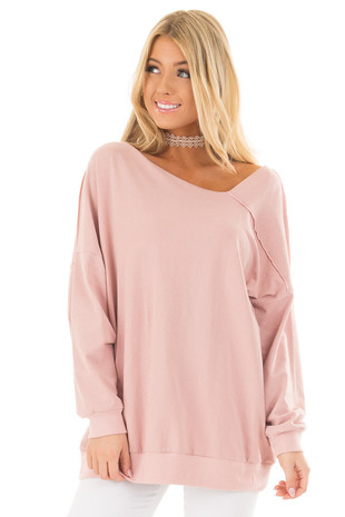 Dusty Pink Long Sleeve Sweater with Asymmetrical Neck front closeup