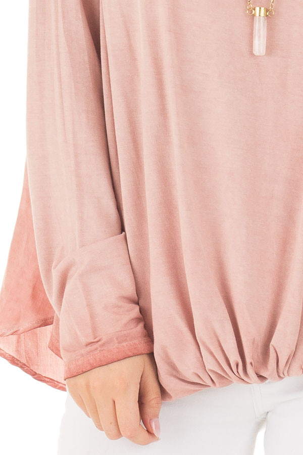 Blush Mineral Wash Top with Front Twist front detail