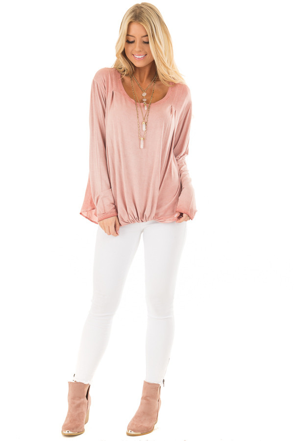 Blush Mineral Wash Top with Front Twist front full body