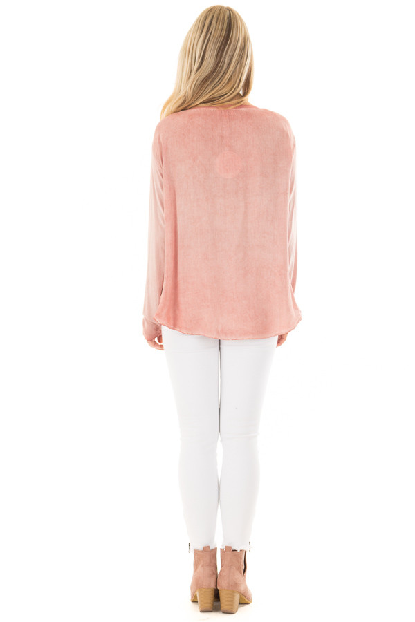 Blush Mineral Wash Top with Front Twist back full body