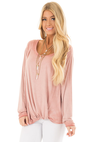 Blush Mineral Wash Top with Front Twist front closeup