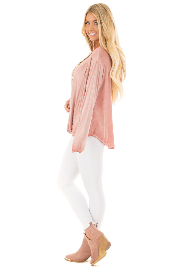 Blush Mineral Wash Top with Front Twist side full body