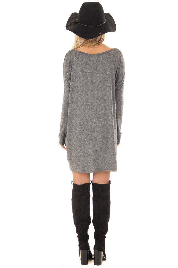 Charcoal Long Sleeve V Neck Tunic back full body