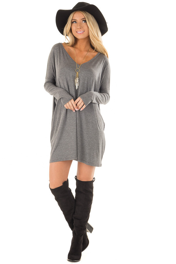 Charcoal Long Sleeve V Neck Tunic front full body