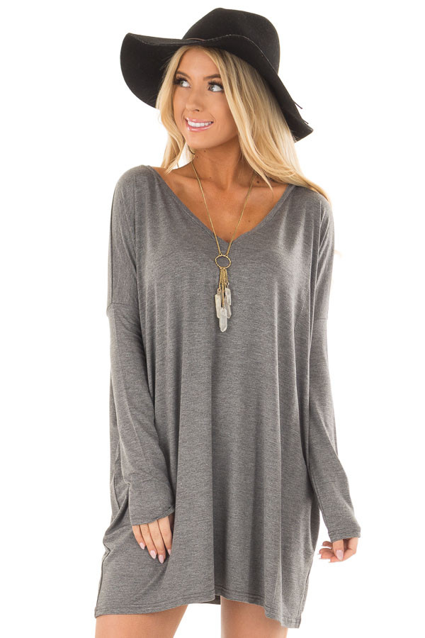 Charcoal Long Sleeve V Neck Tunic front close up