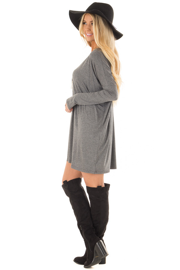 Charcoal Long Sleeve V Neck Tunic side full body