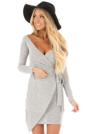 Heather Grey Wrap Style Dress with Waist Tie front closeup