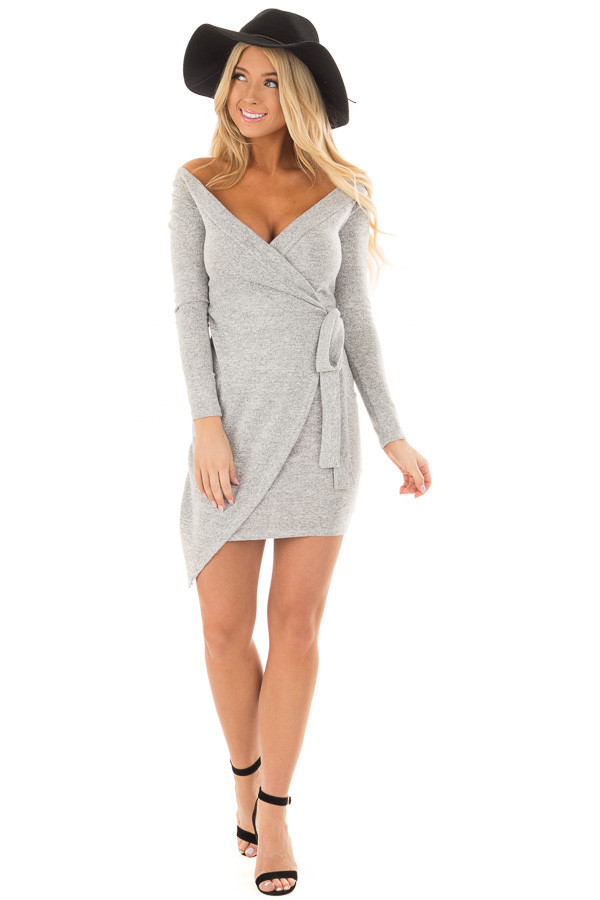 Heather Grey Wrap Style Dress with Waist Tie front full body