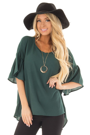 Hunter Green Bell Sleeve Top front closeup