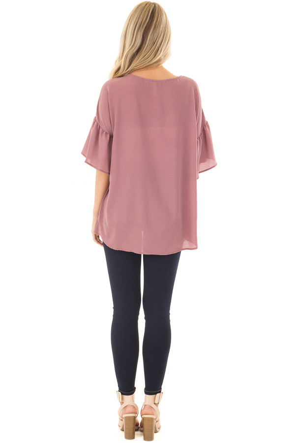 Dusty Orchid Bell Sleeve Top back full body