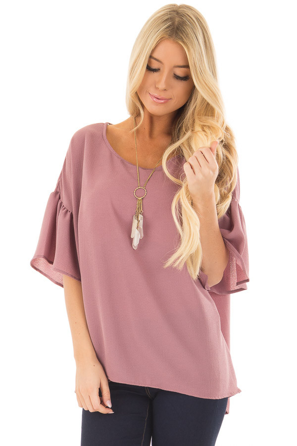 Dusty Orchid Bell Sleeve Top front closeup