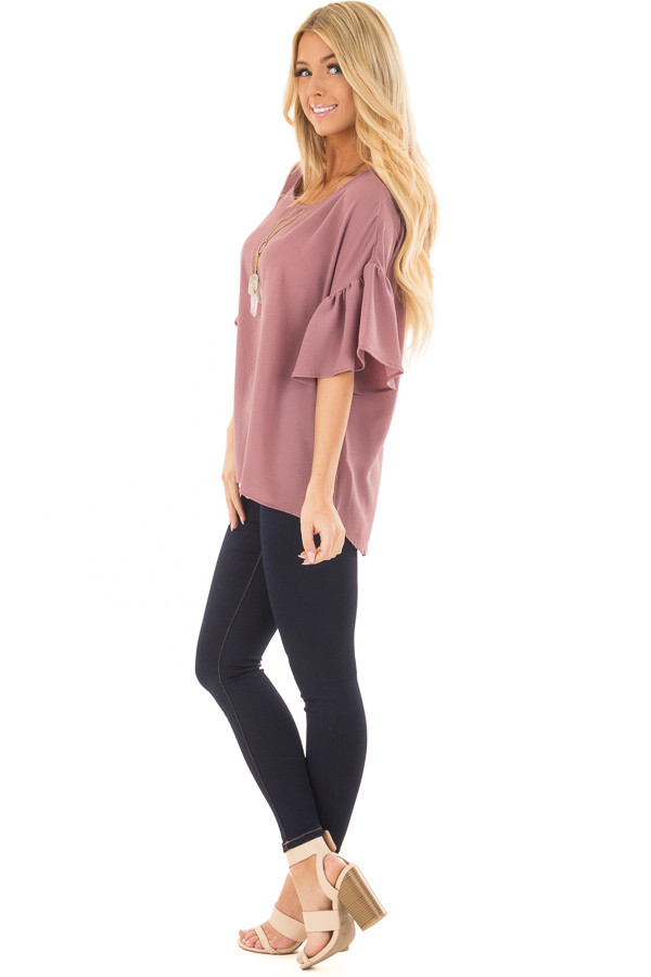 Dusty Orchid Bell Sleeve Top side full body