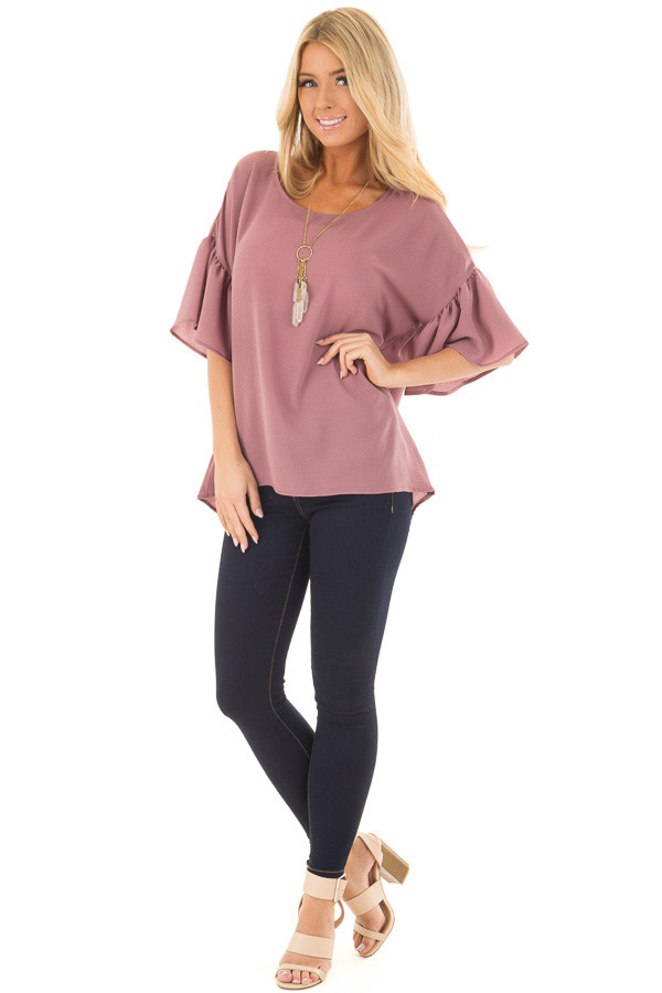 Dusty Orchid Bell Sleeve Top front full body