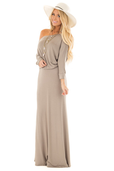 Olive Cowl Neck Dolman Maxi Dress front full body