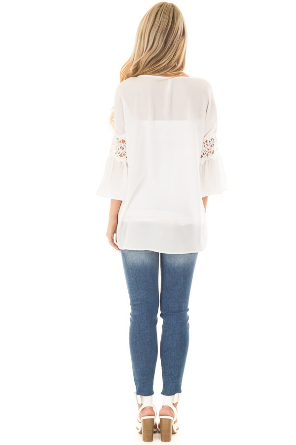 Off White Blouse with Sheer Lace Details on Sleeves back full body