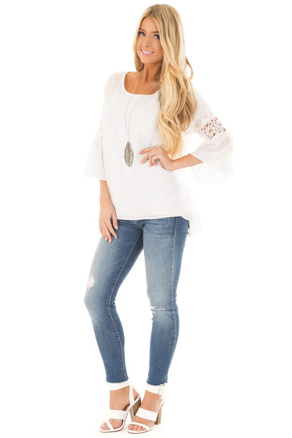 Off White Blouse with Sheer Lace Details on Sleeves front full body