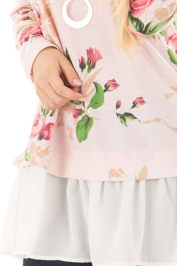 Blush Floral Print Tunic with Contrast Hemline detail