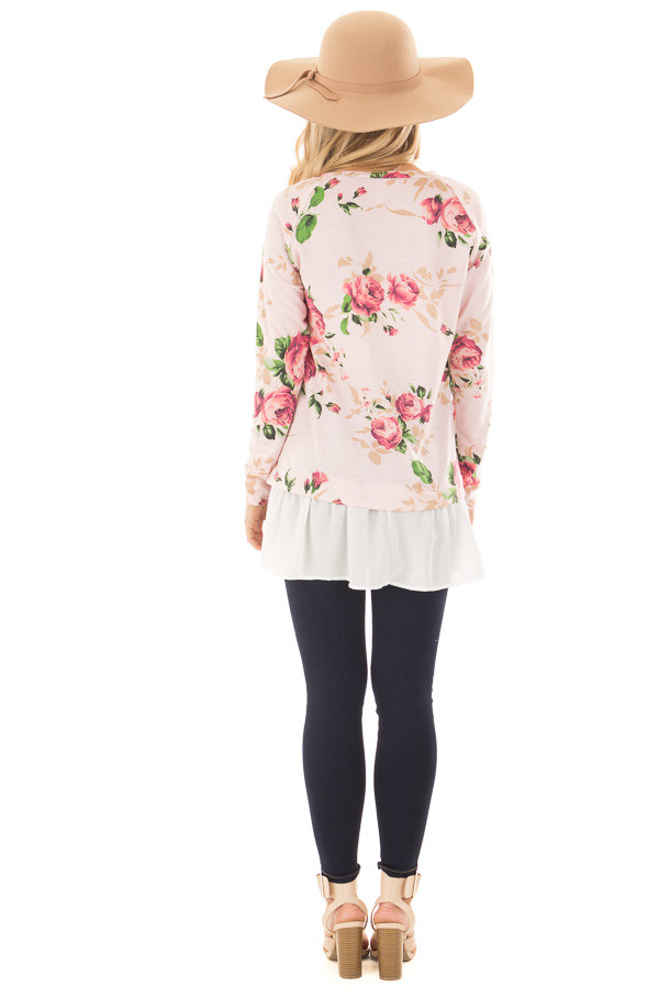 Blush Floral Print Tunic with Contrast Hemline back full body