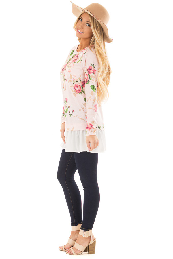 Blush Floral Print Tunic with Contrast Hemline side full body
