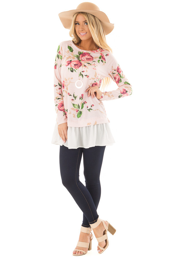 Blush Floral Print Tunic with Contrast Hemline front full body