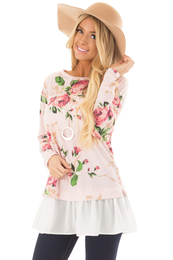 Blush Floral Print Tunic with Contrast Hemline front close up