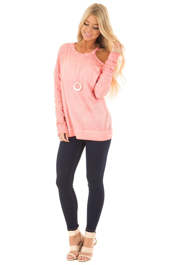 Coral Mineral Wash Single Bare Shoulder Long Sleeve Top front full body