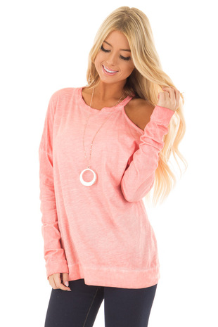Coral Mineral Wash Single Bare Shoulder Long Sleeve Top front close up