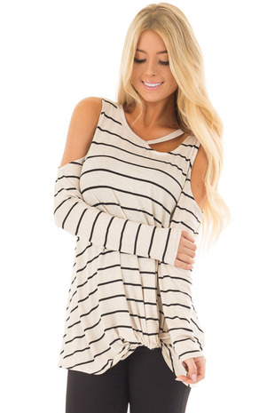 Oatmeal Striped Cold Shoulder Top with Cutout Neck front close up