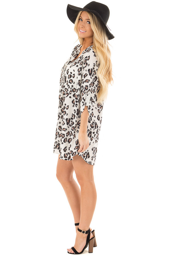 Ivory Leopard Print Button Up Tunic with Roll Up Sleeves side full body