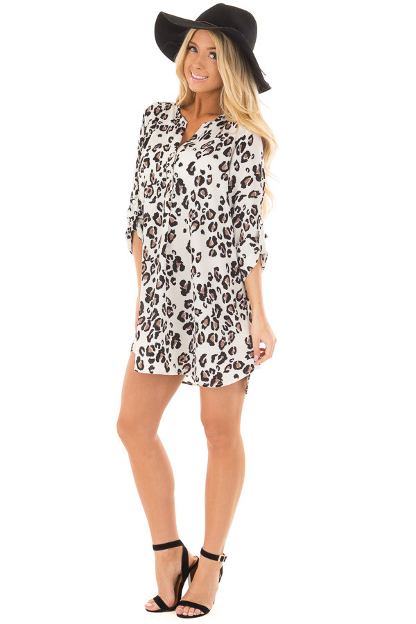 Ivory Leopard Print Button Up Tunic with Roll Up Sleeves front full body