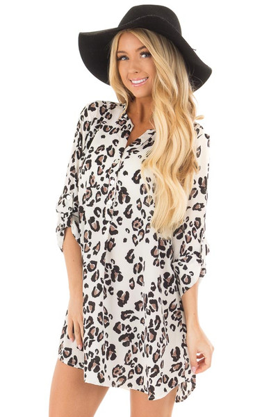 Ivory Leopard Print Button Up Tunic with Roll Up Sleeves front close up