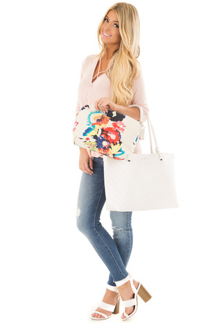 White Faux Leather Carryall Purse with Floral Canvas Bag front full body