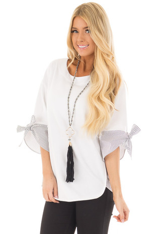 White Top with Striped Contrast Back and Sleeve Details front close up