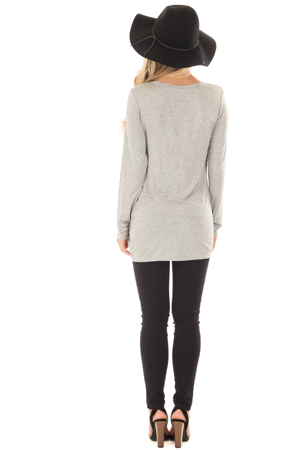 Heather Grey Top with Gathered Detail back full body