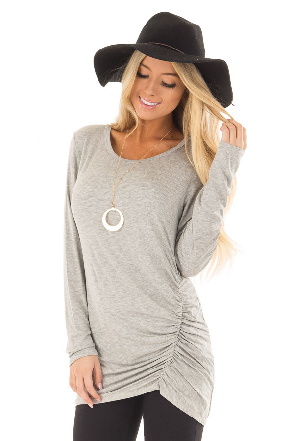 Heather Grey Top with Gathered Detail front close up