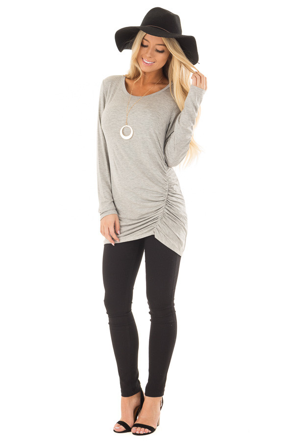 Heather Grey Top with Gathered Detail front full body