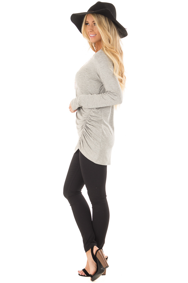 Heather Grey Top with Gathered Detail side full body