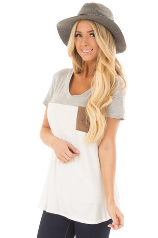 Ivory V Neck Top with Heather Grey Contrast and Front Pocket front close up