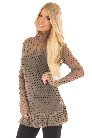 Mocha Shimmer Sheer Top with Black Polka Dots front close up