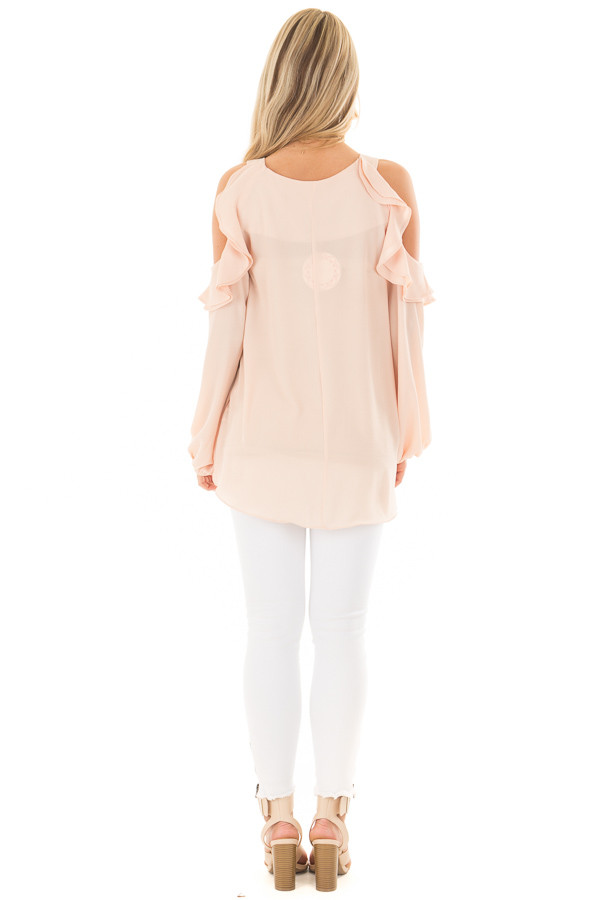 Peach Cold Shoulder Top with Ruffle Detail back full body