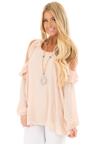 Peach Cold Shoulder Top with Ruffle Detail front close up