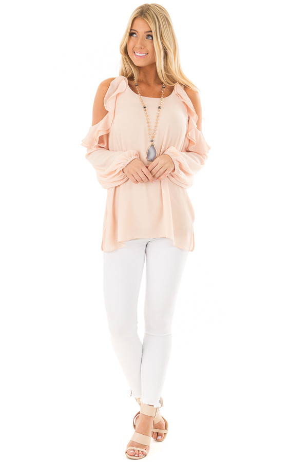 Peach Cold Shoulder Top with Ruffle Detail front full body