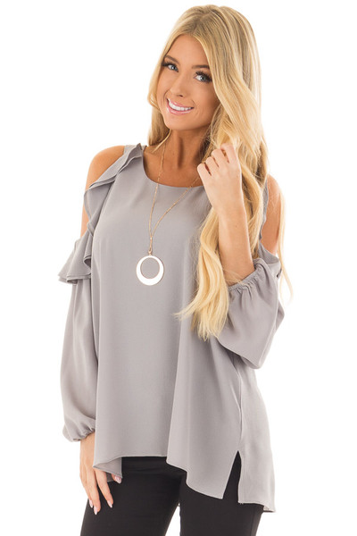 Cloud Grey Cold Shoulder Top with Ruffle Detail front close up