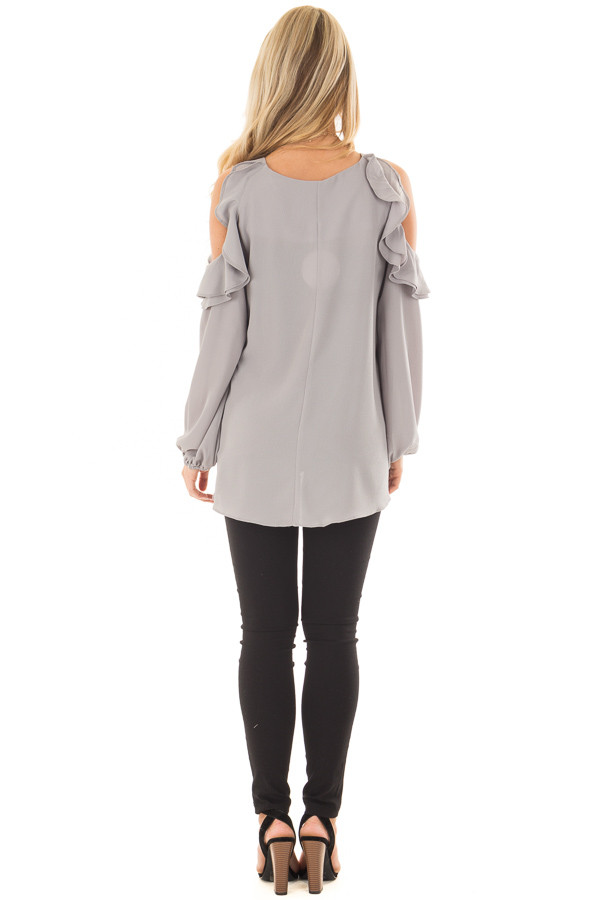 Cloud Grey Cold Shoulder Top with Ruffle Detail back full body