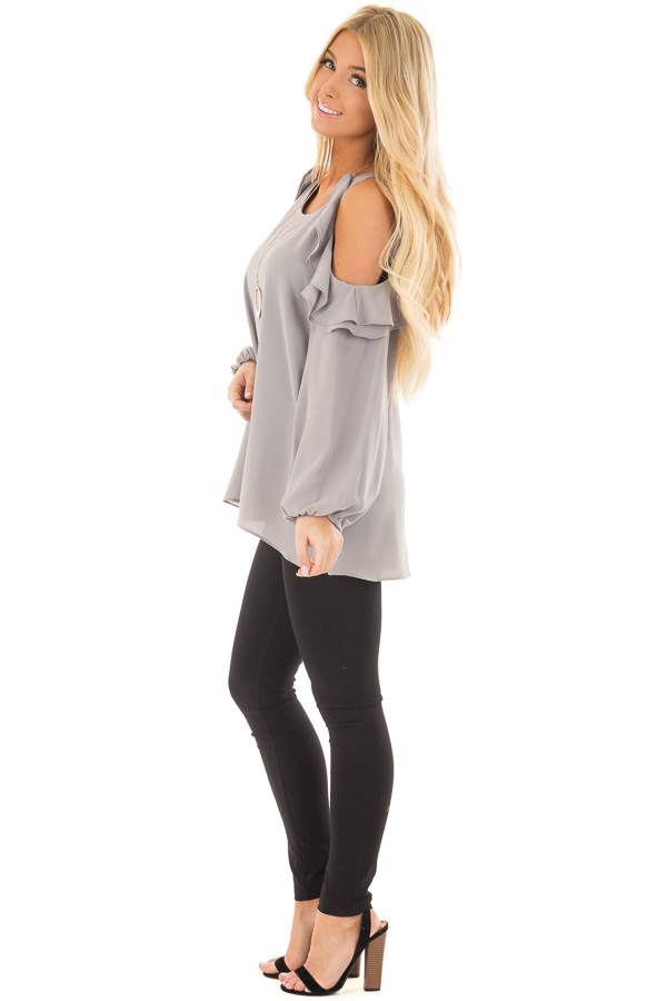 Cloud Grey Cold Shoulder Top with Ruffle Detail side full body