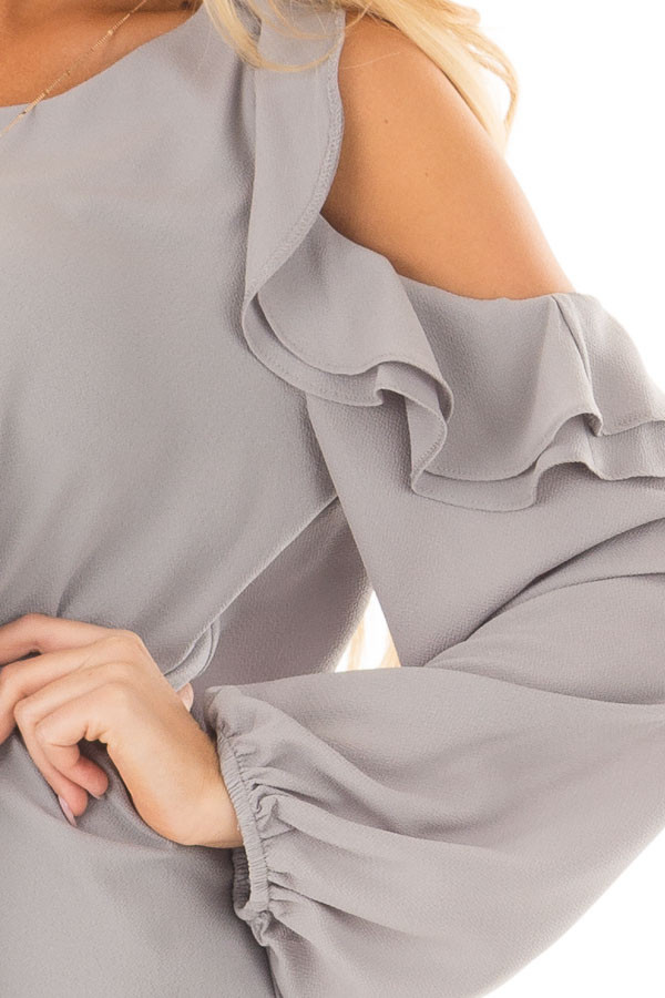 Cloud Grey Cold Shoulder Top with Ruffle Detail detail