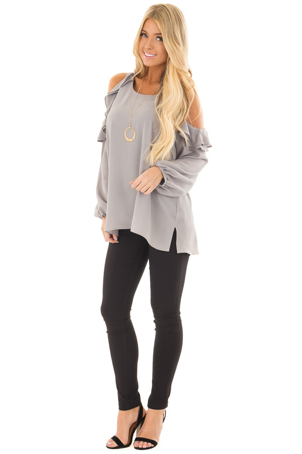 Cloud Grey Cold Shoulder Top with Ruffle Detail front full body