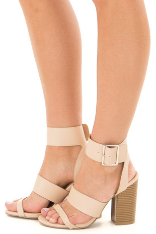 Nude Strappy Sandal Heels side view