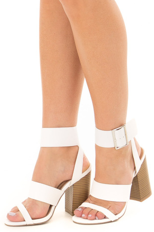 White Strappy Sandal Heels side view