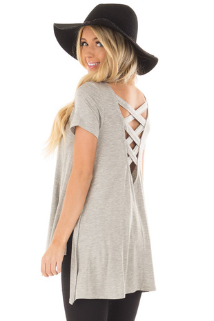Light Grey Top with Crisscross Back back side close up